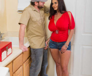 Dark haired cougar Ava Addams seduces a younger boy in..