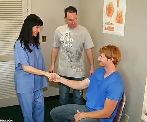 Hot nurse Angie Niore takes care of a patient by using her..