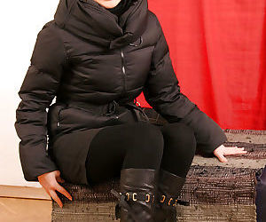Korean first timer Dia posing fully clothed in leather..
