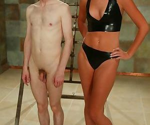 Redhead dominatrix humiliates a helpless male slave on a..