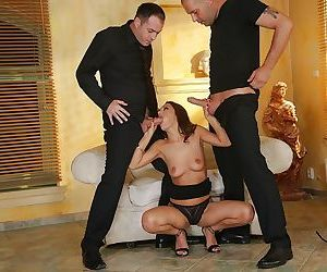 Threesome and anal sex with an European beauty Dominica Fox