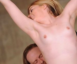 Suspended blonde chick undergoes electro torture and..