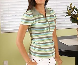 Smiley teenage amateur slowly uncovering her flawless..