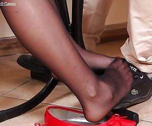 Non nude pics of foot and nylon model Petra posing in..