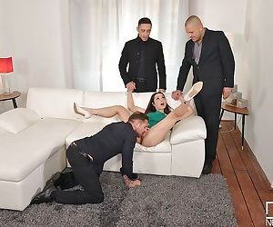 Aurelly Rebel strips off short dress before gangbang and..