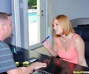Bosomy chick gets shagged and facialized at her first time..