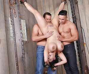 Busty Asian MILF Tigerr Benson suspended upside down for..