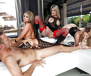 Slutty chick Tara White is into hardcore anal foursome..