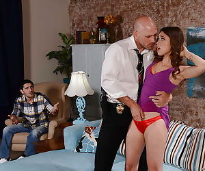 Petite girl Riley Reid takes rough doggystyle fucking from..