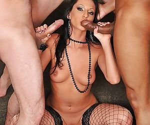 Graceful MILF in fishnets has some interracial blowbang..