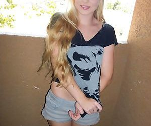 Young amateur Bri Skies exposes herself out on the balcony..