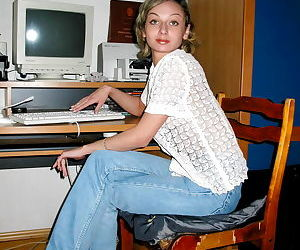 Horny female student Irina gets naked at the computer desk
