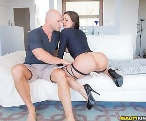 Fascinating milf model Kendra Lust is sucking a big white..