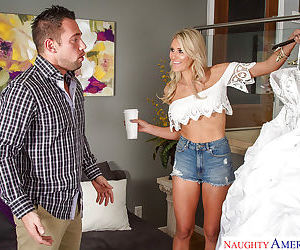 Big-tit blonde bride Audrey Show fucks with her hardcore..