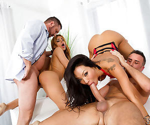 MILF pornstars receive facial cumshots after wild orgy..