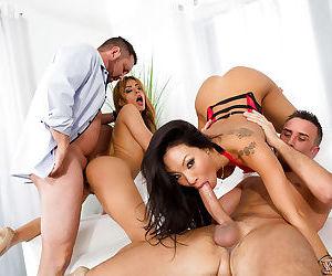 MILF pornstars receive facial cumshots after wild orgy..