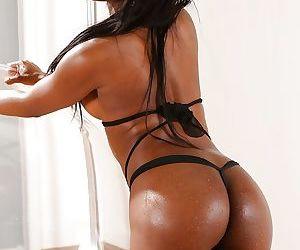 Busty black dime Jasmine Webb masturbating and toying..