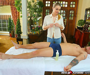 Lewd massage girl with big bosoms gets fucked by her..