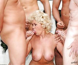 Filthy granny with big round jugs gets blowbanged and..