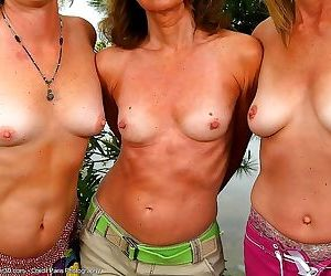 Three gorgeous older women who have experienced in public..