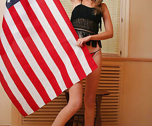 Sitting on american flag - part 1353