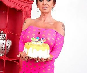 Older white woman gina milano celebrates her birthday with..