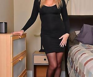 Velvet skye mature blonde in black stockings spreads on..