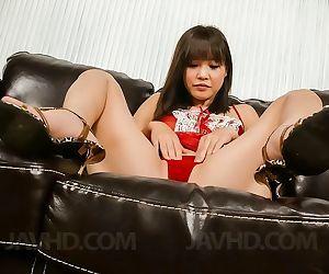 Asian beauty momoka rin in thong enjoys a vibrator - part..
