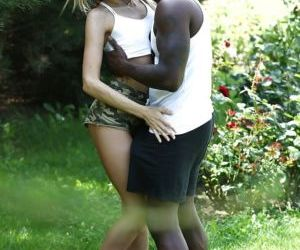 Petite blonde Empera getting ass fucked by large black..