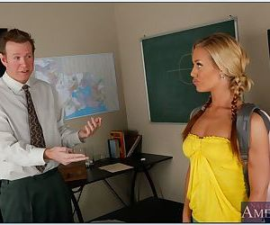 College hottie with pigtails Nicole Aniston hammered with..
