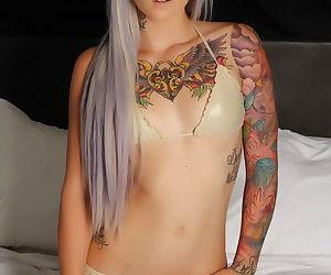 Tattooed solo girl Bonus Vixens models in lingerie with..