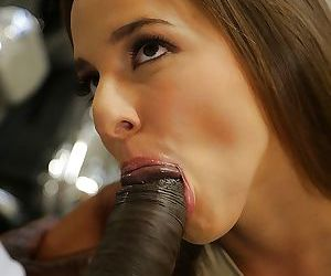 Interracial blowjob upon massive dick provided by brunette..