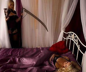 A busty blonde Death awakens sleeping beauty Dannii..