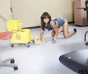 Brunette pornstar Mia Austin exposing MILF pussy..
