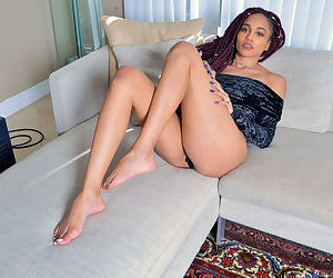 Black amateur Julie Kay fingers her shaved pussy until she..