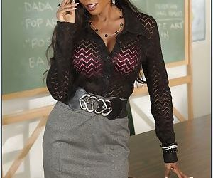 Ebony teacher Diamond Jackson is mature lustful whore with..