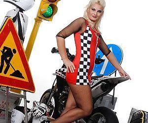 Leggy blonde babe Ionella Dantes posing in erotic..
