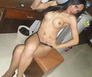 Big tit Asian shemale in high heels Alis trying out her..
