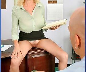 Busty MILF teacher in glasses Penny Porsche bent over desk..
