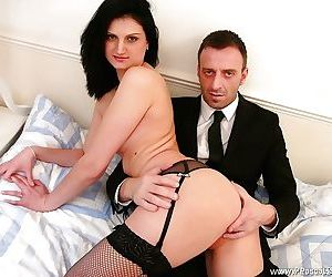 Mesh stocking adorned Euro amateur Eva Johnson receiving..