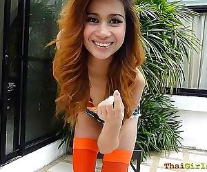 Super amazing hot thai teen goes outside dancing showing..