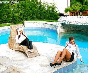 Nikky Thorne has some wet fully clothed pool fun with..
