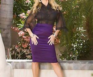 Sexy mmature Dyanna Lauren struts outdoors in sheer shirt..