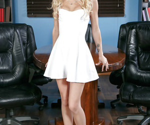 Blonde wife Alex Grey poses in white dress before..