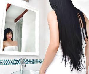 Brunette teen babe Rachel Rivera displaying shaved Latina..