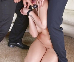 Bound brunette Akasha Cullen forced to deepthroat cock..