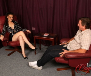 Brunette chick Roxee Couture strips and masturbates while..