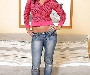 Smiley brunette in blue jeans..