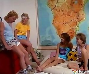 Hot retro orgy with 3 teen..
