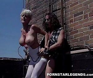 Huge tits nurse fucked hard on a rooftop